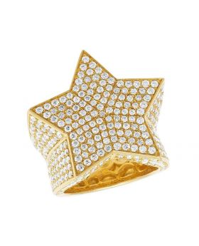 Men's 10K Yellow Gold Diamond Iced Star Pinky Engagement Ring 5.5 CT 27MM