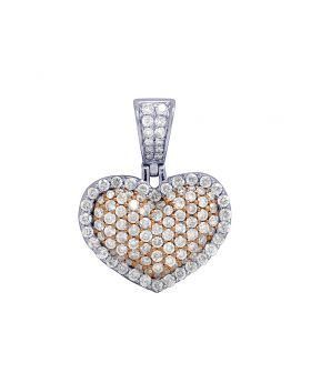 Ladies 10K Two Tone Gold Real Diamond Heart Puff Pendant 1.25 CT