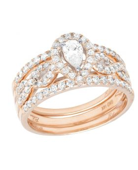 14K Rose Gold Pear Shape Solitare Infinity Style Bridal Ring Set 0.88 Ct