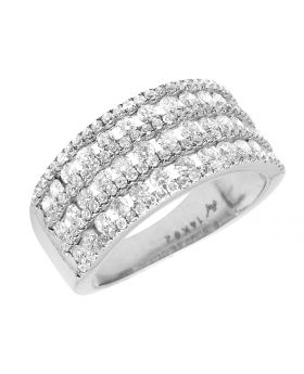 Ladies 14k White Gold Real Diamonds Engagement Wedding Band Ring 1.50 Ct 10mm
