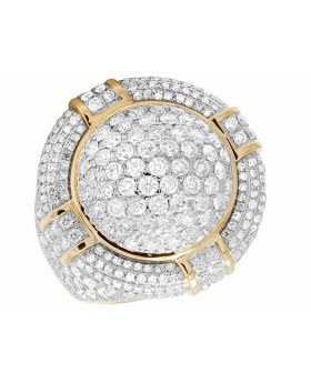 Men's 14K Yellow Gold Real Diamond Puff Pillow 3D Round Pinky Ring 5.75 ct