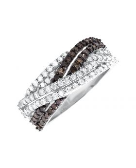 White Gold Finish Criss Cross Fashion Genuine Diamond Wedding Band Ring (1ct)