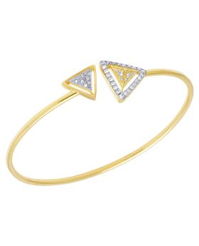 14K Yellow Gold Real Diamonds Ladies Triangle Flex Bangle 0.5 CT