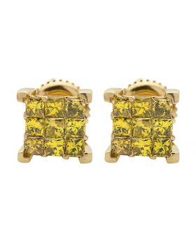 10K Yellow Gold Princess Cube Canary Diamond Stud Earrings 1.0Ct