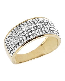 10K Men's Yellow Gold Puff Pave Real Diamond Wedding Engagement Band .60 Ct