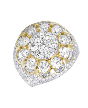 10K Yellow Gold Flower Cluster XL 3D Real Diamond Pinky Ring 10.15CT