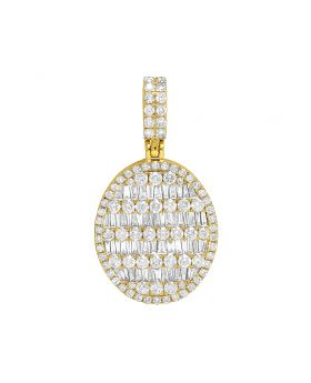 10K Yellow Gold Real VS Diamond Oval Baguette Pendant 3.8 CT 1.5""