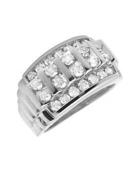 Men's 10K White Gold Real Diamonds Channel Wedding Band Ring 2.0ct