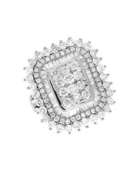 Ladies 10K White Gold Real Baguette Diamond Cocktail Ring 3.50ct