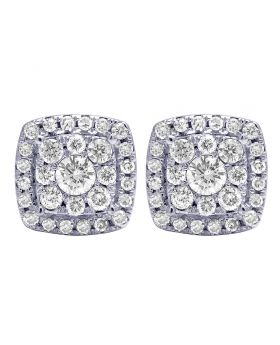 14K White Gold Real Diamond Square Halo Cluster Earrings 10mm 1.10 CT