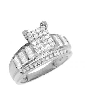 10K White Gold Baguette Real Diamond Cinderella Engagement Ring 1.0ct