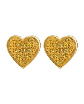 10K Yellow Gold Heart Canary Genuine Diamond Stud Earrings 0.10ct