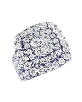 14K White Gold Halo Diamond Cluster Engagement Ring 4 Ct 19MM