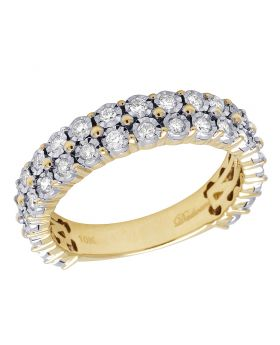 10K Yellow Gold Miracle Diamond 2 Row Band Ring 1CT 3MM