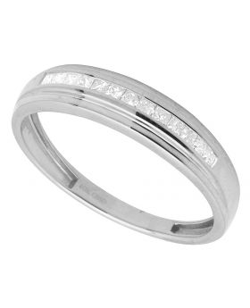 10K White Gold Princess Channel Real Diamond Ring Band 0.50ct