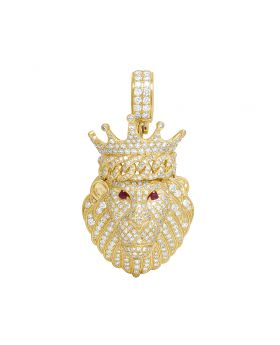 Men's 14K Yellow Gold Genuine Diamond Iced Ruby Lion Pendant 4CT 2.1""