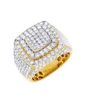 Diamond Puffed Square Pinky Ring in 10K Yellow Gold 4.3Ct 19mm