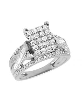 Ladies 10K White Gold Real Baguette Diamond Infinity Ring 1.0ct