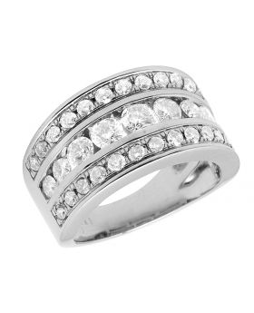 Ladies 14K White Gold Real Diamond Channel Engagement Ring Band 2.0ct