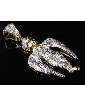 Long Winged Angel Pendant in Yellow Gold (0.50 ct)