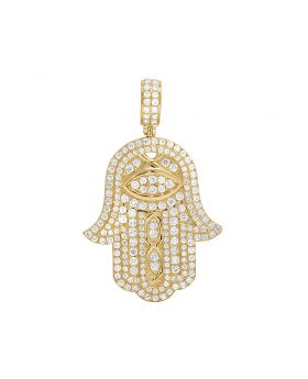 Men's 14K Yellow Gold Hamsa Hand Iced 4.0CT Diamond Pendant Charm 1.8""