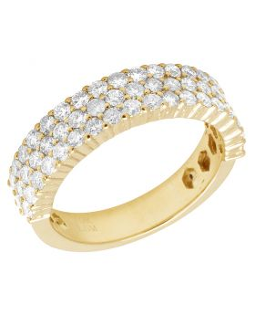 Men's Diamond Three Row Band in 10K Yellow Gold 1.95Ct 6mm