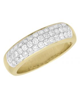 10k Yellow Gold Pave Diamond Domed Pinky Band (1.10 ct)