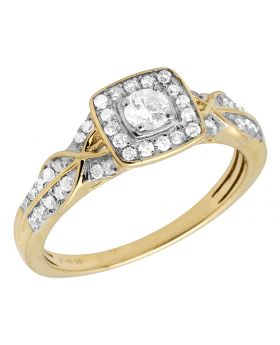 14K Yellow Gold Real Diamond Square Twisted Engagement Ring 0.50ct