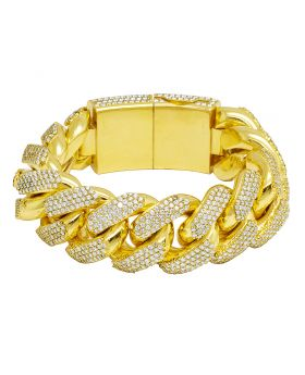 """Yellow Gold 26MM Diamond Iced Out Miami Cuban Link Bracelet 8.5"""" 39.75 CT 394 Gms"""