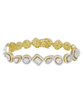 14K Yellow Gold Oval Pear Rectangle Ladies Baguette Halo Bracelet 9 CT