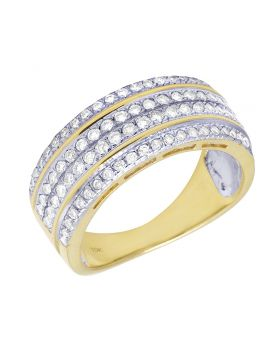 Men's Diamond Pave Ring Band in 10K Yellow Gold 1.0Ct 9mm