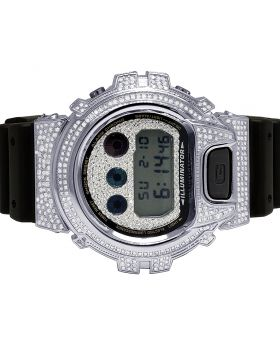 Casio G-Shock 6900 Stainless Steel White Diamond Watch 3.0 Ct