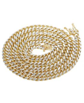 Solid Yellow Gold Diamond 5.5 MM Miami Cuban Link Necklace 3.5 CT 26""