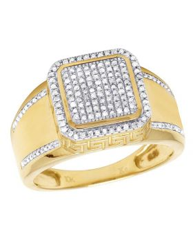 Men's 10K Yellow Gold Diamond Square Greek Sides Pinky Ring 0.45 Ct 13MM