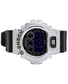 Unisex G Shock Matte Black 6900 Black & White Diamond Watch 3.0 Ct