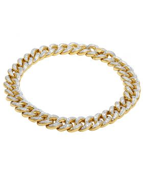 Men's 14K Yellow Gold Diamond 10MM Miami Cuban Link Bracelet 3 Ct 8.5""