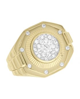 Mens Octagon Cluster Diamond Pinky Ring (1.0 Ct)