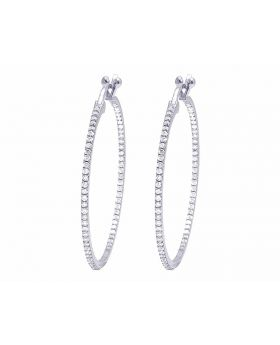 """10K White Gold Real Diamond In/Out One Row Hoop Earrings 4 CT 2.2"""""""