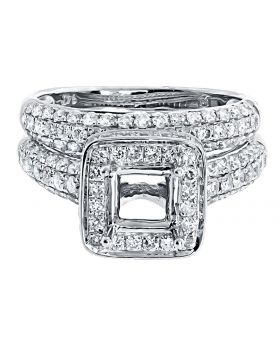 Round Pave Diamond Semi Mount Bridal Set in 14k White Gold (2.45 ct)
