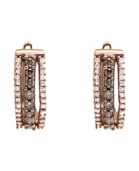 10K Rose Gold Three Row Brown And White Genuine Diamond Hoop Earrings 0.55ct