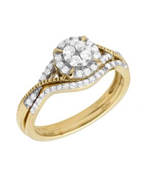10K Yellow Gold Real Diamond Ladies Engagement Ring Set 0.37ct