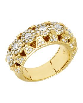 14K Yellow Gold Cluster Diamond Pyramid Pinky Ring Band 10MM 2 Ct
