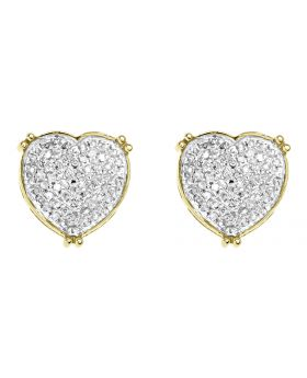 Womens Pave Diamond Heart Earrings in 10k Yellow Gold (0.45 ct)