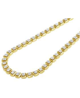 """Yellow Gold 8MM Halo Baguette Diamond Necklace 6.5 CT 22"""""""