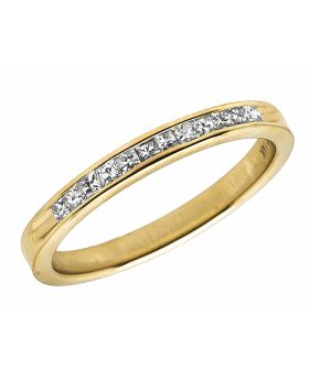 14K Yellow Gold Invisible Princess Genuine Diamond Ring Band 0.25Ct