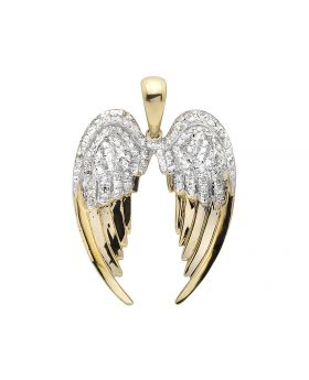 10K Yellow Gold Open Angel Wings 1 Inch Diamond Pendant Charm 0.60ct.