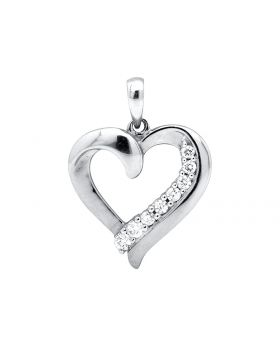 10K White Gold Heart Shaped 0.75 Inch Diamond Pendant Charm (0.25ct.)