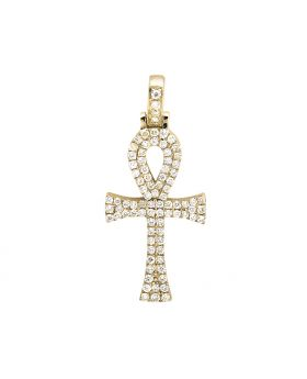 "10K Yellow Gold Ankh Cross Genuine Diamond 1"" Charm Pendant (0.50 Ct)"
