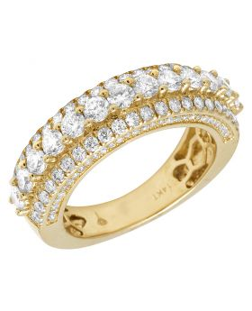 14K Yellow Gold 3 Row 3D Real Diamond Ring Band 7mm 3CT