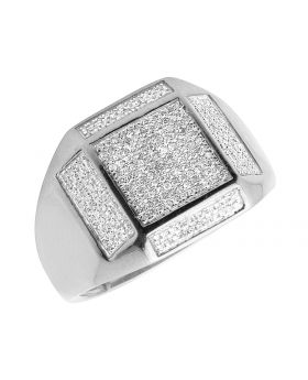 Men's 10K White Gold Real Diamond Square Pinky Engagement Ring 0.55ct